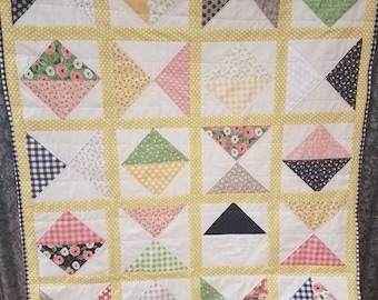 Farmers Daughter Handmade Quilt Throw One of a Kind  Ready to Ship Green, Yellow, Pink, Black, Tan Quilt for Sale