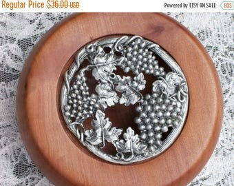 On Sale Hand turned bowl with lid. Tasmanian Myrtle pot pourri bowl. Vine and grapes pewter lid.