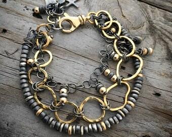 18K Gold Sterling Silver Bracelet Handmade Wild Prairie Silver Jewelry Artist Joy Kruse