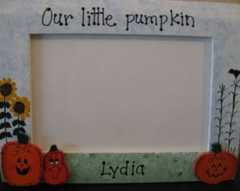 Halloween frame fall frame personalized custom pumpkin picture photo frame
