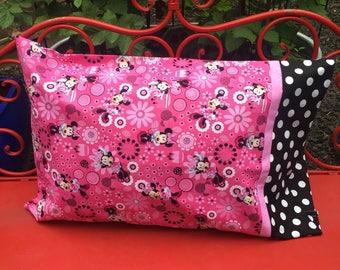 DISNEY Minnie Mouse Pillowcase, 1 each - disney pillowcase - disney sham - standard pillowcase - gift bag