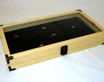 Brass Cornered Natural Wood Display Case W 8 Row Black Ring Insert