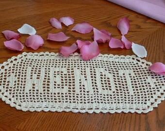 Custom Handmade Crocheted Name Doilies - Crochet Name Doily - Personalized Doily - Custom Crochet Name - Custom Letters - Gift