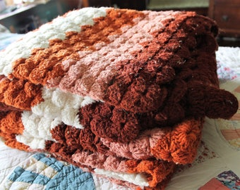 Shades of Brown Crocheted Afghan, Throw, Blanket 58 X 74