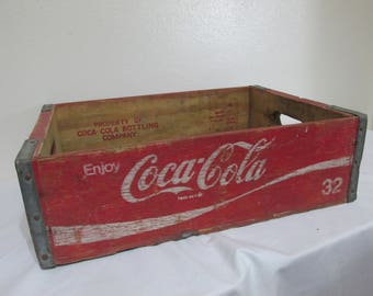 Wood Coke Case Rustic Primitive Red  and White Shabby