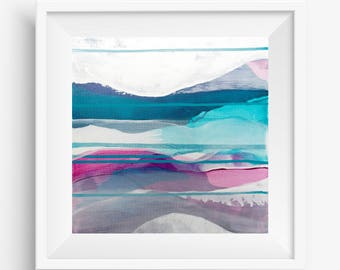 Digital Print, Abstract Printable Art, Abstract Art Print, Square Abstract Print, Blue White Abstract Landscape - Meditation on Clarity 1