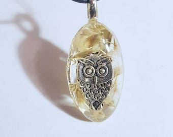 Owl Charm Flower Necklace Resin Pendant Real Nature Jewelry Animal Bohemian Jewelry Boho