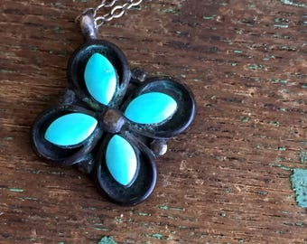 Vintage Native American Blue Turquoise Cross Flower Pendant Sterling Silver