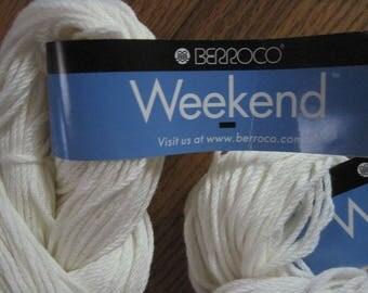Berroco Weekend Yarn 2 Hanks Vanilla Color 5902 Acrylic Cotton Yarn Free US Shipping!