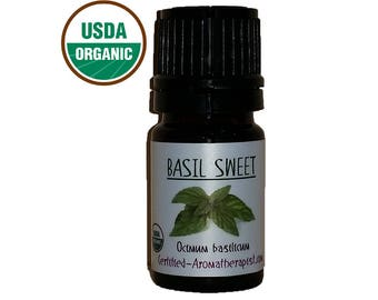 Certified Organic Basil Essential Oil *Buy 3 Get 4th 1 FREE* pure GCMS Included 5ml 10ml 15ml 3 Drop Sample