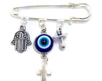 Lucky Evil Eye Safety Pin -protection for baby - Dark blue - Hamsa hand, cross and pacifier