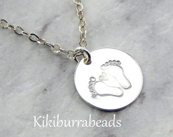Hand Stamped Baby  Footprint Necklace, Hand Stamped Jewelry,Baby Shower Gift, New Mother Gift