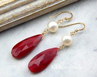 Ruby Earrings,July Birthstone Earrings,Ruby and Freshwater Pearl Earrings, Wire Wrapped Ruby Earrings, Gold Filled