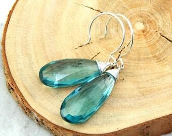Aquamarine Earrings,March Birthstone, Wire Wrapped,Gemstone Earrings,Sterling Siver,Aquamarine Jewelry