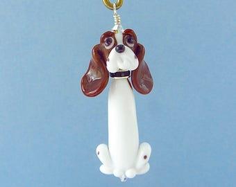 Basset Hound Dog Ornament - Lampwork Glass Creation - SRA