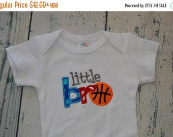ON SALE SAMPLE Sale  Little Bro Basketball 0-3 Month , Ready to Ship, Quick Ship  Monogrammed Shirt
