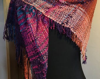 Handwoven Wrap, purple pink rust blue
