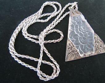 Art Deco Marcasite Pendant Necklace Silver 925 Italy Rope Chain