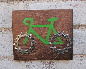 """6""""x5"""" Recycled Bicycle Road Bike Plaque"""