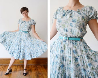 1950s Ranch Maid Blue Floral Western Dress - S/M