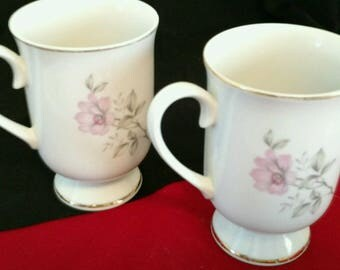 2 Twilight Rose footed mugs from the Royal Domino Collection