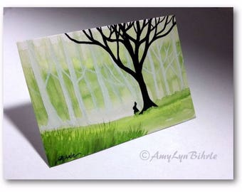 WildlifeWonder Rabbit - Where the White Trees Grow- Original ACEO Painting wd268