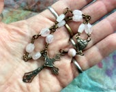 Prayers from Your Heart- a Wire Wrapped Single Decade Rosary in Real Bronze, Rose Quartz and Peruvian Opal