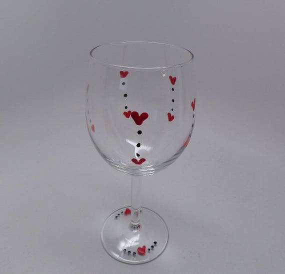 Hand Painted Wine Glass for Valentine's Day
