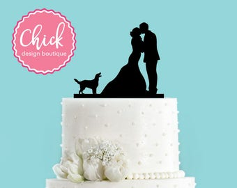 Couple Kissing With Irish Setter Wedding Cake Topper