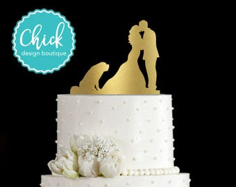 St. Bernard Dog Wedding Cake Topper Hand Painted in Metallic Paint with Couple Kissing