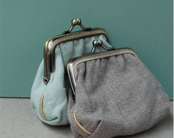 Retro purse gray linen or jade