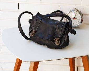 "Small black leather satchel ""matriarch"""