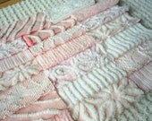 Vintage Chenille Bedspread Squares - Sweet Shades of Pink-20-6""
