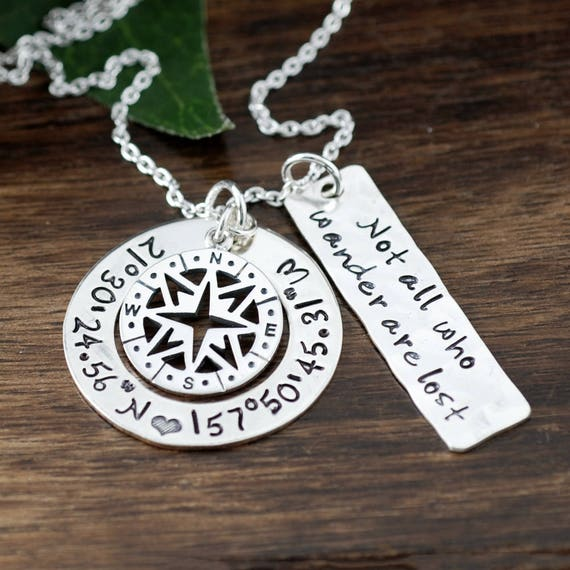 Coordinates Necklace, Compass Necklace, Compass Jewelry, Latitude Longitude Necklace, Location Necklace, Not all who wander are Lost