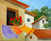 Provence Painting Clothesline Art French Village Laundry Lynne French O/C Impressionist Landscape Clouds 11x14
