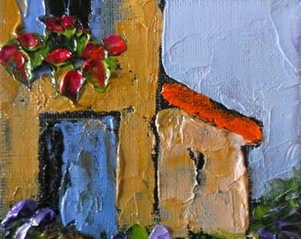 Miniature Impressionist Painting 4x4 Plein Air Provence Landscape Villa  Garden Lynne French