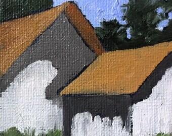 Miniature Impressionist Oil Painting 4x4 Plein Air California BARNS Santa Cruz Landscape Lynne French Art