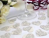 Custom paper heart wedding confetti- 200 custom story book die cut punched hearts 3.5cm by 3cm- Great romantic Valentines table decoration