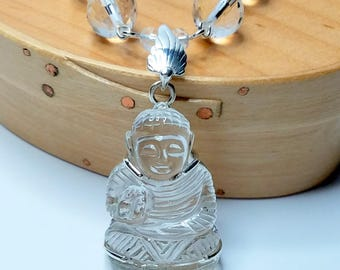 Rock Cyrstal Quartz Hand Carved Buddha Pendant and Necklace