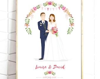 Custom Wedding Portrait - Personalised Couple Drawing - Illustrated Wedding Gift - Bride & Groom - A4 Print -Digital File