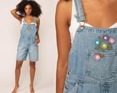 Shortalls Denim Overall Shorts Jean FLORAL Romper Playsuit Bib 90s Grunge Suspender Blue One Piece Woman 1990s Vintage Large