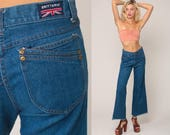 BELL BOTTOMS Jeans Pants Bohemian High Waisted Jeans 80s Denim Pants 70s Hippie Boho Brittania Vintage Hipster Blue Flared Medium