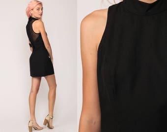 Black Mini Dress 90s Party lbd MESH CUTOUT Bow Back Choker Sheer Vintage Little Black Dress Cocktail Sleeveless 1990s Sheath Small