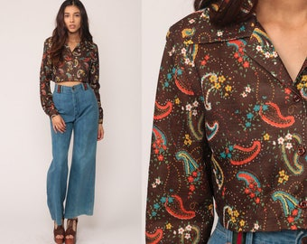 Cropped Blouse 70s Paisley Shirt Disco Top Bohemian Shirt Brown 1970s Hippie Psychedelic Long Sleeve Button Up Boho Medium