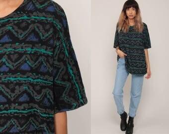 Tribal Shirt Aztec Striped Tshirt Surfer Shirt Grunge Tee Southwest 80s Southwestern 90s T Shirt Short Sleeve Black Blue Extra Large xl