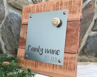 Farmhouse Magnetic Board - Personalized Family Name - Picture Frame - Message Board - Memo Board - Kitchen Recipe Board