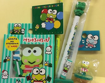 Keroppi Vintage Lot of 7 Items Silly Erasers Writing Instruments Stickers Sharpener Stamp Mostly Made in Japan All Like New See The Photos