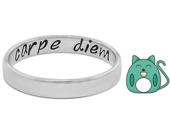 Secret Message Ring • Hidden Message Ring • Carpe Diem Ring • Seize The Day Ring • Sterling Silver