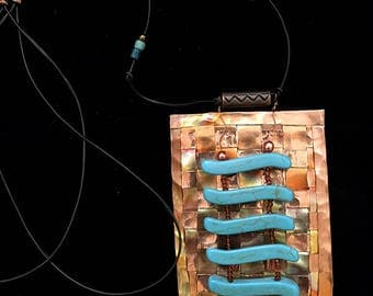 Woven Copper Necklace with Turquoise Colored Beads - Item N26