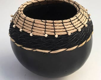 Black Gourd Bowl with Leather - Item 823 by Susan Ashley
